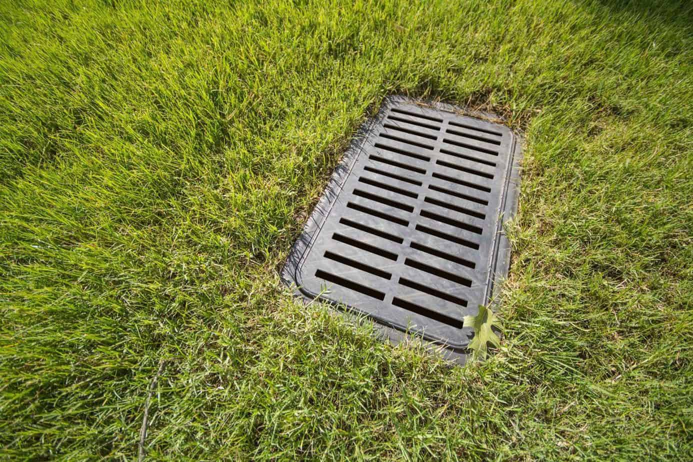 surface drain - surface drain in lawn