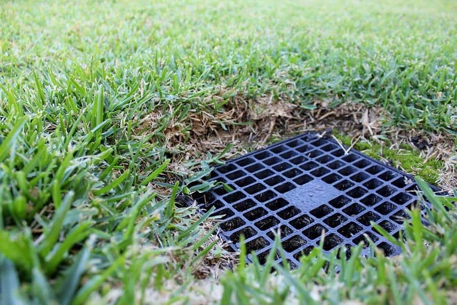 landscape drainage - surface drain in lawn
